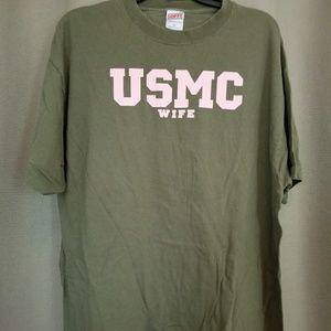 USMC military wife shirt XXL 100% cotton